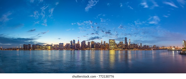 skyline view of New york in dawn