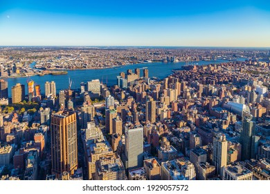 skyline view of New York with view to river Hudson