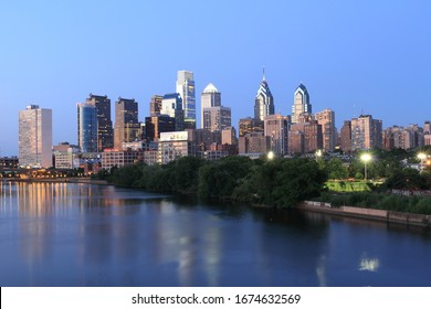 Skyline view of Philadelphia, Pennsylvania - USA at Night 2012