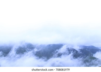 Skyline View of the Smokey Mountains Covered with Fog