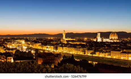 Skyline view at sunset of the city of Florence from Michelangelo Square