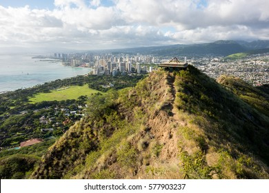 Skyline view of Waikiki Beach and Honolulu from Diamond Head in Oahu, Hawaii.