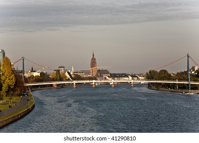 "Skyline von Frankfurt, view from ""Friedensbrücke"" over the river Main"