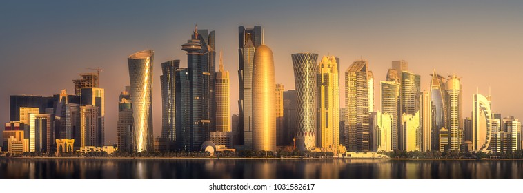 The skyline of West Bay and Doha City Center during sunrise, Qatar