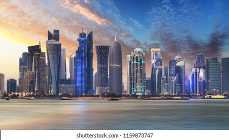 Skyline of West Bay and Doha City Center during sunrise, Qatar