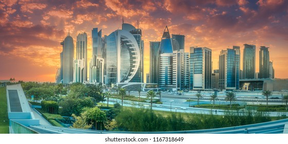 The skyline of West Bay and Doha City Center during sunset, Qatar