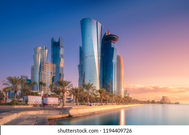 The skyline of West Bay and Doha City Center during sunrise, Qatar. Clipping path of sky