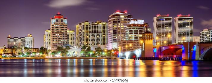 Skyline of West Palm Beach, Florida, USA.