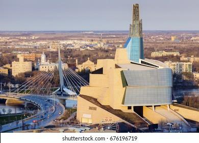 Skyline of Winnipeg - aerial photo. Winnipeg , Manitoba, Canada.