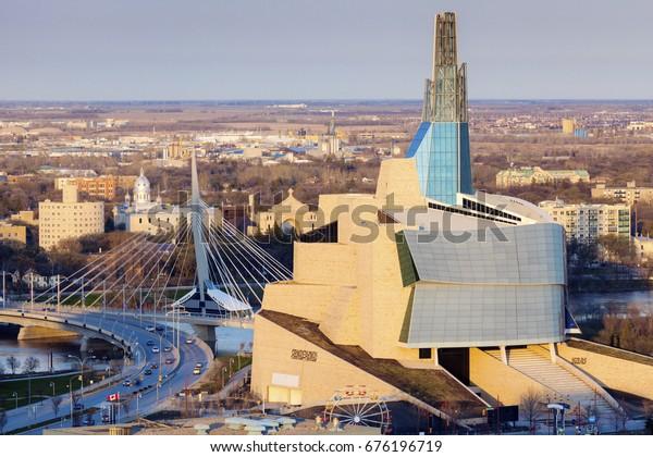 Skyline Von Winnipeg Luftbild Winnipeg Stockfoto Jetzt