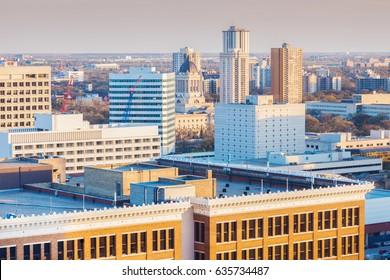 Skyline of Winnipeg with Manitoba Legislative Building. Winnipeg , Manitoba, Canada