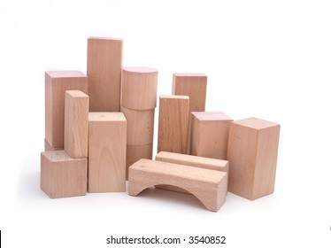 A skyline wooden building blocks, isolated against a white background