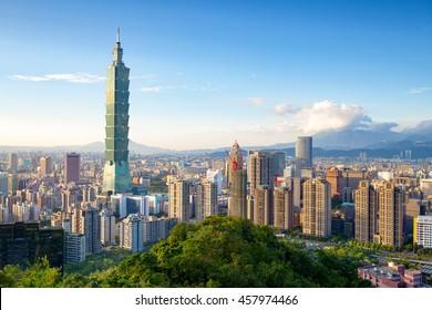 Skyline of Xinyi District in downtown Taipei, Taiwan.