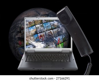Skype phone on world background