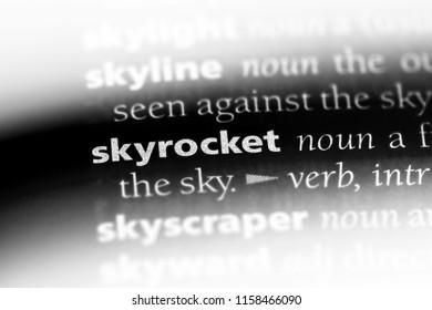 skyrocket word in a dictionary. skyrocket concept.