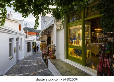 Skyros, Greece - June 16, 2017: Main street in Chora village on Skyros island, Greece.