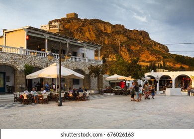 Skyros, Greece - June 16, 2017: Main square in Chora village on Skyros island, Greece.