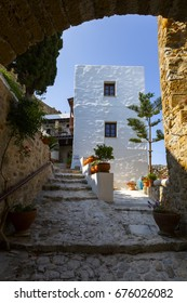 Skyros, Greece - June 17, 2017: Monastery in the castle of Chora on Skyros island, Greece.