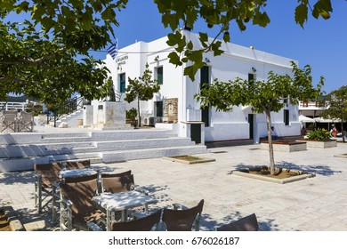 Skyros, Greece - June 17, 2017: Main square in Chora village on Skyros island, Greece.