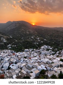 Skyros Island / Greece / August 2018: Beautiful sunset from castle at Skyros island in Greece