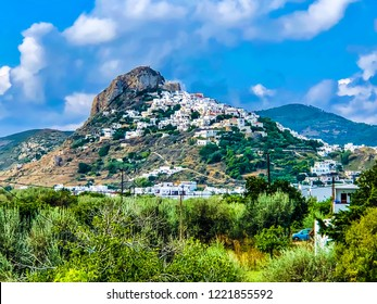 Skyros Island / Greece / August 2018: Beautiful landscape of Skyros's island old town