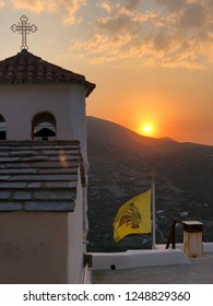 Skyros Island in Greece, August 2018, Beautiful sunset from a monastery