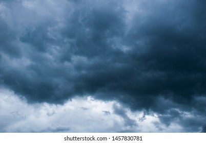 skyscape of black clouds on the sky in the rainday
