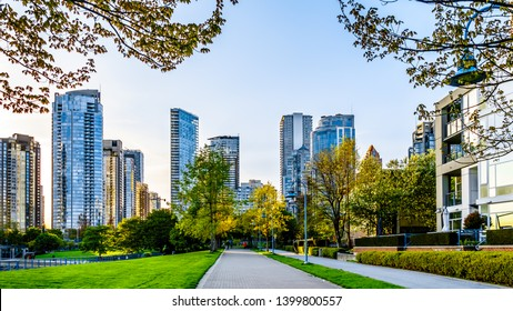 Skyscapers lining the skyline of Yaletown and David Lam Park along False Creek Inlet of Vancouver, British Columbia, Canada