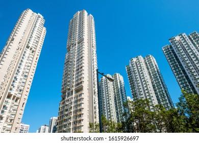 skyscraper apartment buildings, residential real estate, HongKong -