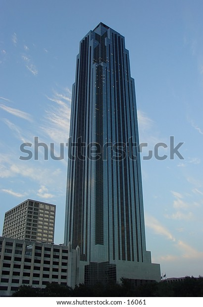 Skyscraper with a blue sky background