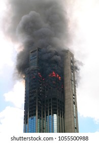 Skyscraper building on fire