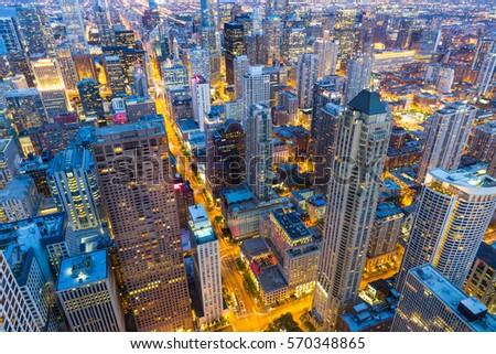 Skyscraper buildings night view