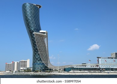 Skyscraper The Capital Gate in January 2015 in Abu Dhabi. United Arab Emirates