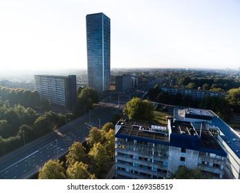 Skyscraper in the city center of Tilburg on a sunny spring morning.