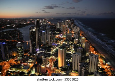 Skyscraper city - Surfers Paradise city in Gold Coast region of Queensland, Australia