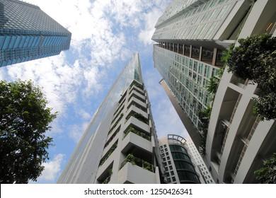 Skyscraper cityscape in Little India Kuala Lumpur Malaysia