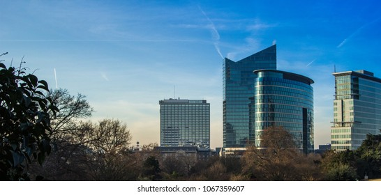 skyscraper comercial buildings panoramic view with reflective surfaceof cityscape in Bruxelles