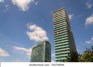 Skyscraper construction site with blue clear sky copy space background