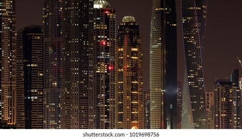 Skyscraper at Dubai Marina in the evening