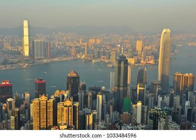 Skyscraper in Hongkong with Sunset