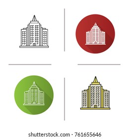 Skyscraper icon. Flat design, linear and color styles. Multi-storey building. Isolated raster illustrations