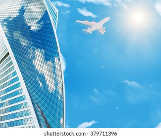 Skyscraper with jet