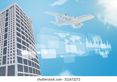 Skyscraper with jet and world map on blue sky background