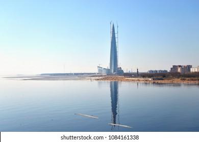 Skyscraper Lakhta Center on coast of Gulf of Finland in St.Petersburg, Russia.