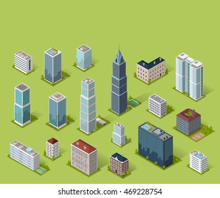 Skyscraper logo building icon. Set of buildings and isolated skyscraper. Isometric tower and office city architecture buildings, 3d house business building, apartment office  illustration