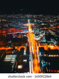 Skyscraper long exposure by night