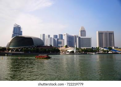 SKYSCRAPER IN MARINA BAY. SINGAPORE - JULY 09, 2015: Beautiful Singapore city in the morning, Singapore.