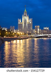 Skyscraper at night on bank of Moscow-river in Moscow, Russia.