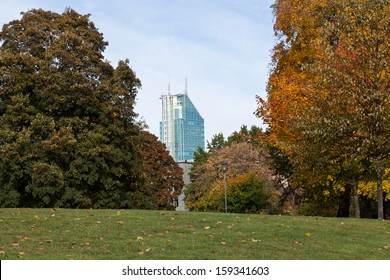 The skyscraper Skrapan is a landmark of Vasteras city, Sweden. Picture taken from central park (Vasaparken) of Vasteras.