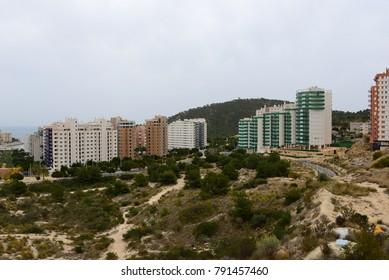 skyscraper, skyline of Benidorm, Cala Finestrat, Costa Blanca,  Spain